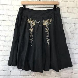 Anthropologie Odille Black beaded skirt